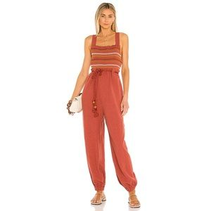 Free People Sienna Smocked Jumpsuit Terracotta New With Tags Size Small